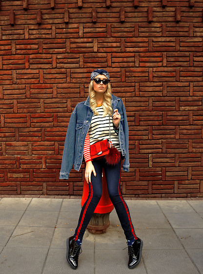 Sabina Bacevich - H&M Red Shoulder Bag, Romwe Different Sleeved, Striped Sweater, Zara Striped Pants, Alikante Lacquered Platform Shoes - Street rat