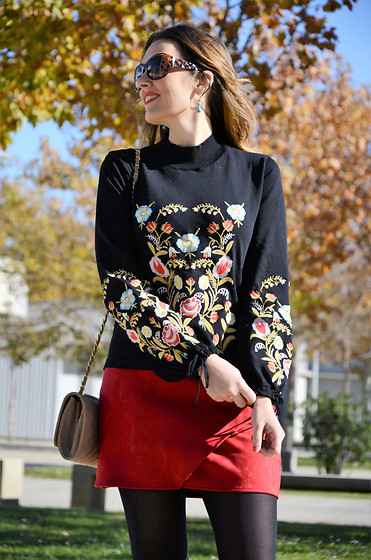 Elisabeth Green - Zaful Sweater, Zaful Red Skirt - Floral and Red
