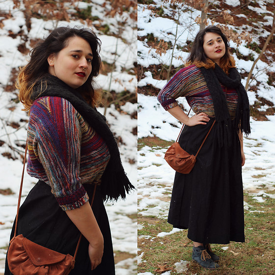 Dani V. - Thrifted Sweater, Thrifted Brown Purse, H&M Black Skirt, Portugal Blue Leather Boots, H&M Black Scarf - I Feel Like Mary Poppins