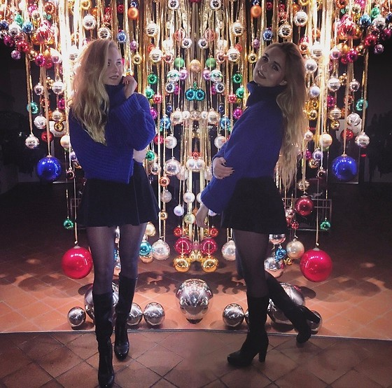 Esther E. - Mango Blue Sweater, H&M Black Skirt, Deichmann Heeled Boots - All I Want For Christmas Is You