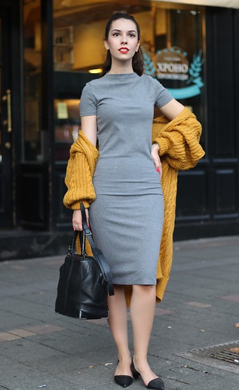 Jelena - Zaful Long Cable Knit Cardigan, Zara Pointy Shoes, Alexander Wang Leather Bag - Mustard cardigan
