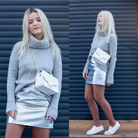 Cristina Tabun - H&M Skirt, Zaful Shoes - Winter Grey
