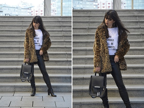 Jelena Dimić - Shein Leopard Faux Fur Coat, Girlmerry Printed T Shirt, Dm Fashion Fishnets, Zaful Black Backpack, Zara Faux Leather Trousers, Unbranded Ankle Boots - Excuse my manners if I make a scene