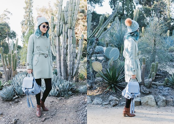 Nancy Qian - Jcrew Mint Coat, Anthropologie Pom Pom Beanie, Gucci Leather Backpack, Madewell Boots - Have yourself a merry little cactus
