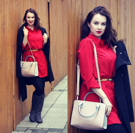 Drew - F&F Dress, Reserved Coat, F&F Handbag, Ccc Boots - Christmas red dress