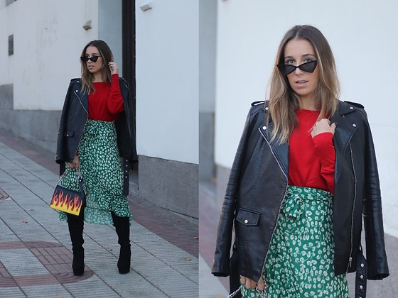 Claudia Villanueva - Zaful Sunglasses, Zara Jacket, Zara Sweater, Zaful Skirt, Pull & Bear Bag, Asos Boots - Christmas Colors