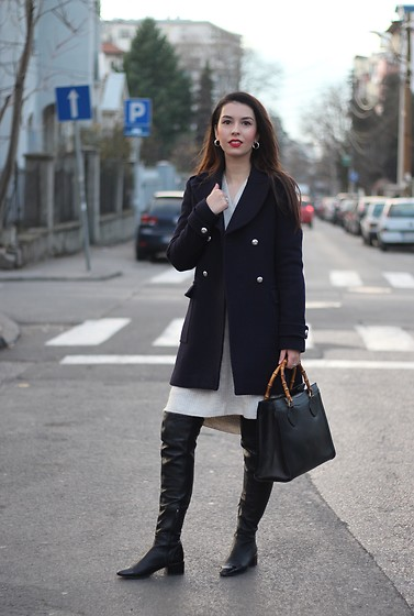 Jelena - Zara Sweater Dress, Zara Over The Knee Boots, Gucci Vintage Bag - Above the knee coat