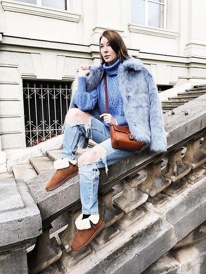 BEHINDHERMASK - Mango Blue Knit Sweater, Weekday Blue Faux Fur Jacket - Bluebird