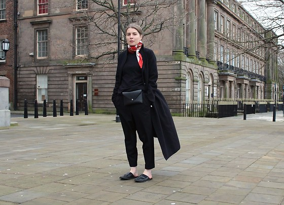 Angharad Jones - Hermes Scarf, Mcq Alexander Mcqueen Coat, New Look Jumper, Zara Bag, Cos Trousers, Zara Shoes - All Black and Silk Scarf