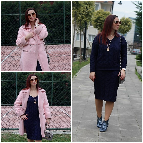 Rebel Takipte - Light In The Box Pink Coat, Zaful Knit Suit - Pink Coat
