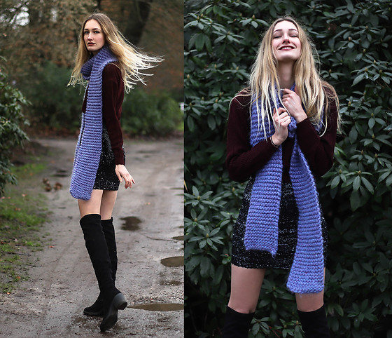 Eva Velt - Chicuu Sweater, Handmade Present. Scarf, Vintage Skirt, Asos Boots - Purple Harry