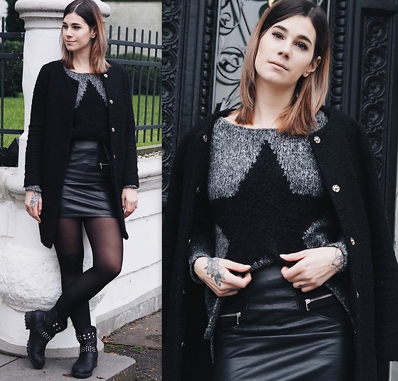 Nina Wirths - Key Largo Sweater, Gina Tricot Coat, H&M Skirt, H&M Tights, Asos Boots - Stardust