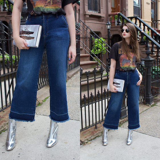 Tracie Marie - Brandy Melville Usa Led Zeppelin T Shirt, Free People Flare Jeans, Asos Silver Metallic Booties - How to Wear Metallic Boots for Fall