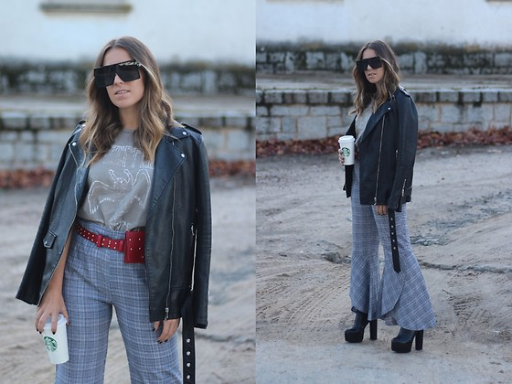 Claudia Villanueva - Zaful Sunglasses, Zara Jacket, Pull & Bear T Shirt, Zaful Pants, Public Desire Boots - Cropped Ruffles