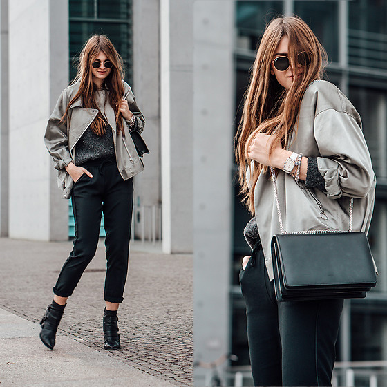 Jacky - Ray Ban Sunglasses, Missguided Jacket, Reserved Pants -  How to wear a satin jacket in winter