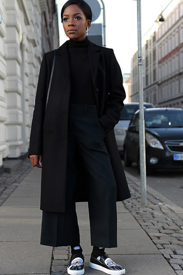 Rachel O. - Cos Long Coat, Cos Cropped Culottes, Zara Turtleneck, Karl Lagerfeld Slip Ons, & Other Stories Geometric Earrings - Androgynous