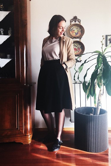 Mar S - Lanidor Long Black Skirt, Uterque Pink And White Blouse, Tommy Hilfiger Long Beige Coat, Massimo Dutti Black Shoes, Dkny Leather Watch - 05. a preppy day
