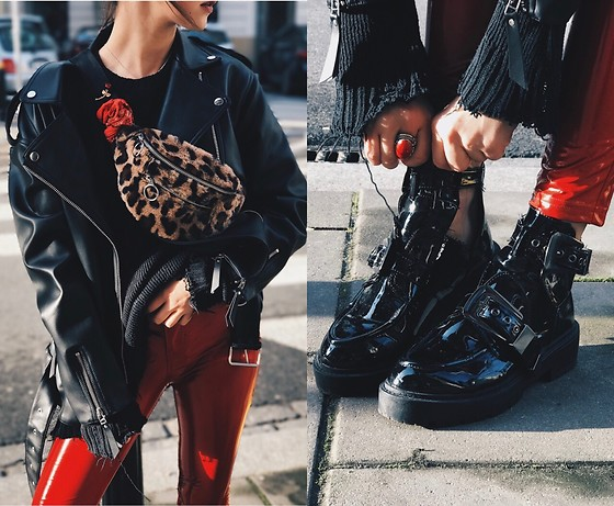 Izabella - Pull & Bear Jacket, Reserved Shoes, Pull & Bear Pants, Bershka Bag - Red Vinyl leopard