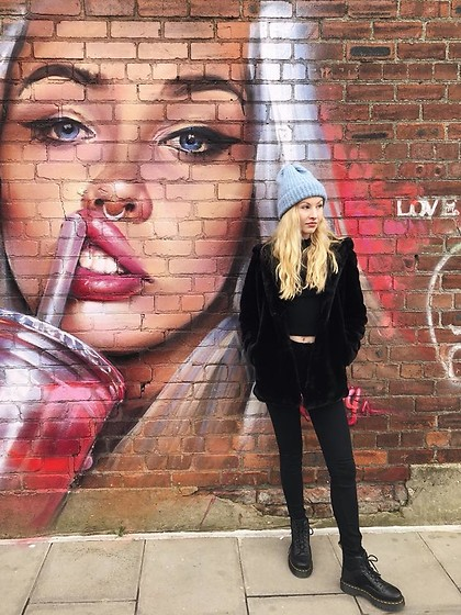 Bec Oakes - Zara Beanie, Zara Coat, Brandy Melville Usa Top, Paige Denim Jeans, Dr. Martens Boots - Black and Blue