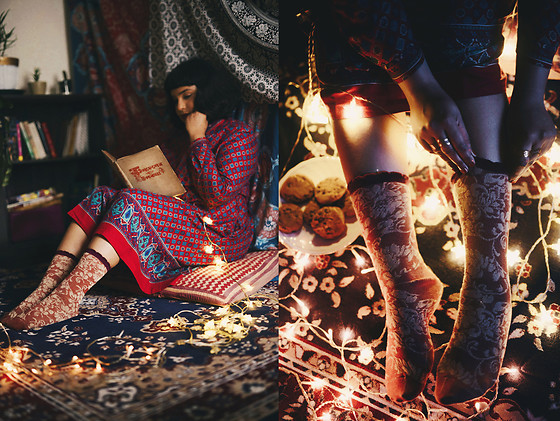 Ragini R - Eastex Vintage Folkloric Dress, Tabbisocks Evening Garden Crew Socks - The Russian folklore dress