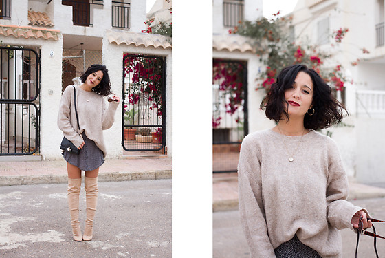 Maray - Zara Sweater, Double Agent Skirt, Public Desire Boots - Beige