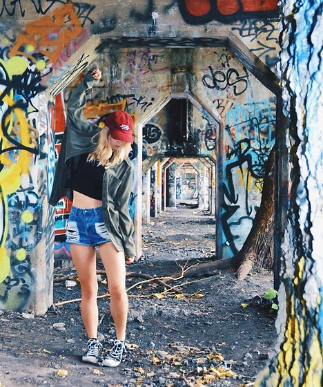 Amelia Burns - Divine Lorraine Collection Hat, Thrifted Jacket, Urban Outfitters Crop Top, Forever 21 Shorts, Converse Sneakers - Lost