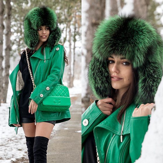 Emira Bugerra - Bitfur Green Fur Hat - Green look