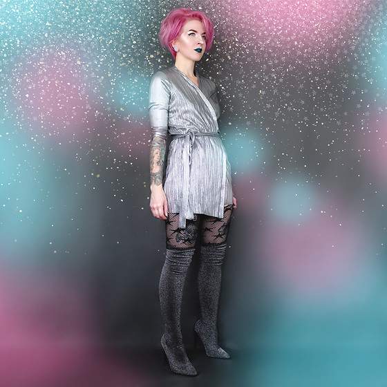 Jessie Barber - Zara Silver Wrap Dress, Dsw Star Tights, Forever 21 Metallic Over The Knee Boot - It Came from Outer Space