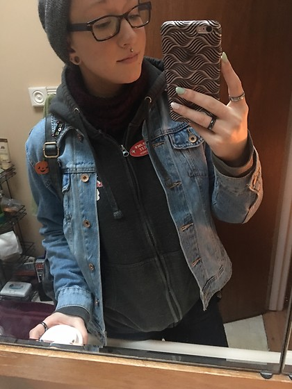 Ashlee Fairy Face - Five Below Beanie, Old Navy Denim Jacket, Old Navy Jeans - Sleepy Bean