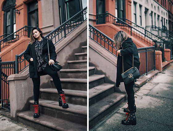 Raleene Cabrera - Gucci Embroidered Ankle Boots, Balenciaga Coat, Gucci Gg Marmont Medium Matelassé Shoulder Bag, Urban Outfitters Men's Shirt - Winter uniform