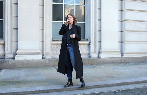Angharad Jones - & Other Stories Coat, Uniqlo Jumper, Weekday Jeans, Dr. Martens Boots - Chelsea Boots