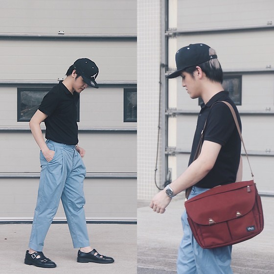 Seff Musa - Nike Black Cap, Bench Black Polo Shirt, Zara Blue Pleated Trousers, Zara Black Leather Sandals Dress Shoes, Giorgio Armani Silver Watch, Ideer Red Camera Bag - Wattershed