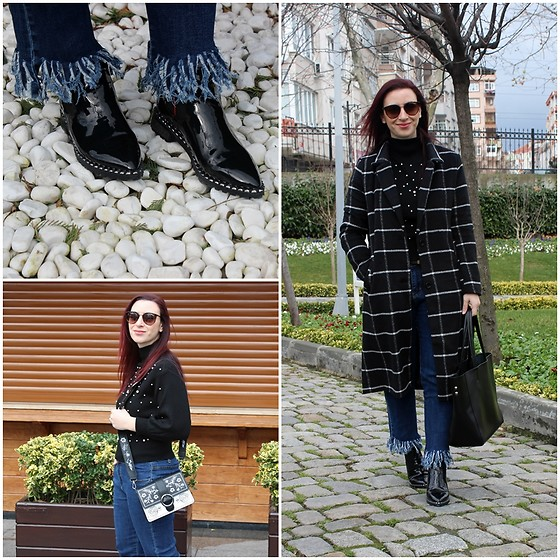 Rebel Takipte - Lovelywholesale Embroidery Bag, Zaful Pearl Sweater - Plaid Coat