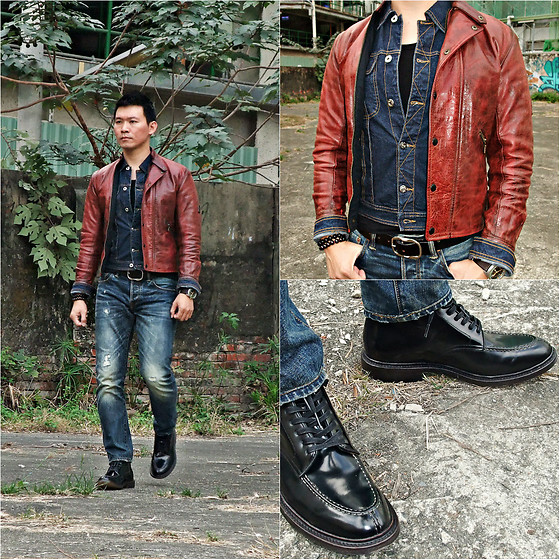 YuChen Lin -  - Denim jacket + leather jacket