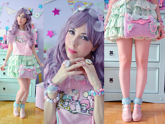 Luly Pastel Cubes - Vicadoo Wool Bag, Petite Jolie Jelly, Cute Can Kill Pegasus, Bodyline Polka Dots, Kiseki Tls Top - Party