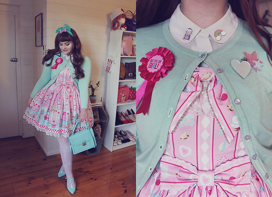 Shannen VM - Angelic Pretty Diner Doll Jsk, Hell Bunny Mint Cardigan, Asos Mint Satchel, Asos Mint T Bar Heels - Diner Doll