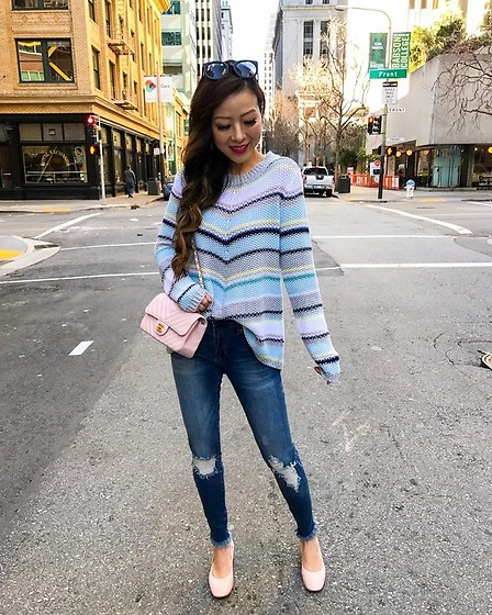Sasa Zoe - Sweater, Jeans, Earrings, Shoes, Sunglasses, Bag - SPRING DREAMING