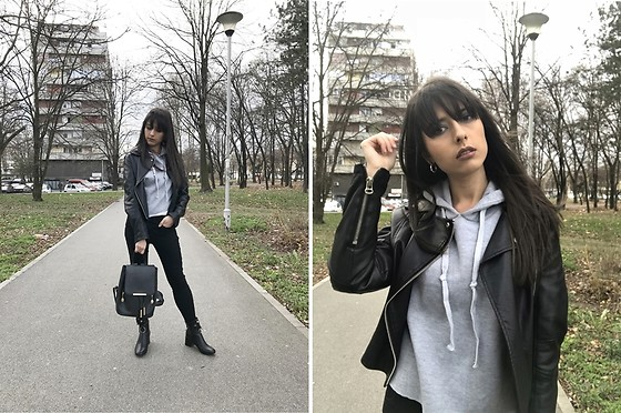 Jelena Dimić - Romwe Black Leather Jacket, Shein Grey Hoodie, Shein Black Skinny Jeans, Zaful Black Backpack, Rosegal Ankle Boots - Transmissions echoing away