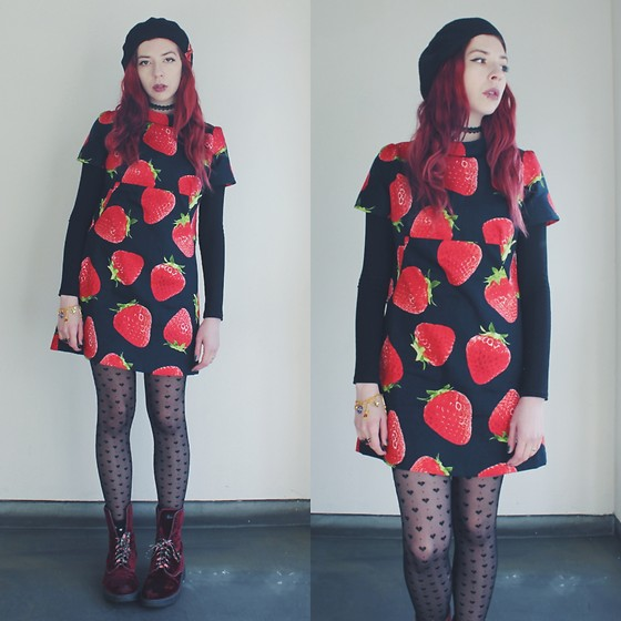 Candy Thorne - Handmade By Me Strawberry Dress, Dr. Martens Velvet Boots - Strawberry shortcake