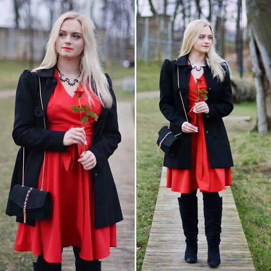 Natalia Piatczyc - Rosegal Red Valentine'S Dress, Orsay Black Waisted Coat, Primark Black Over Knee Boots, Zaful Black Clutch Bag - Valentine's look