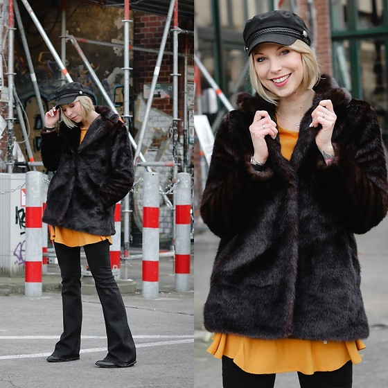 Lavie Deboite - H&M Faux Fur, Justfab Dress, H&M Baker Boy, Zara Flared Pants - Faux Fur and Flared Pants