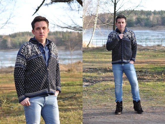 Pawel - Dale Of Norway Wool Norwegian Sweater, Levi's® Jeans Shirt, Hugo Boss Jeans, Vintage Norwegian Shoes - February #01