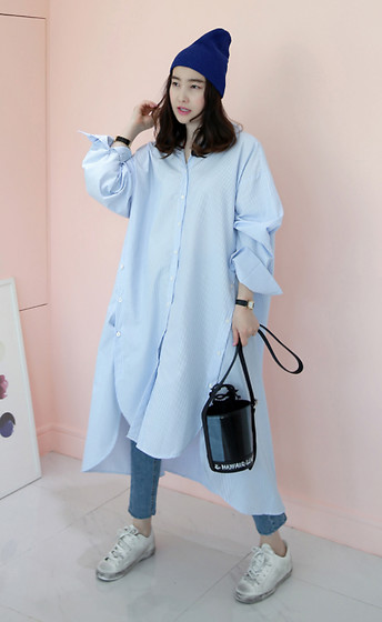 Miamiyu K - Miamasvin Solid Tone Knit Beanie, Miamasvin Buttoned Side Shirt Dress, Miamasvin Double Button Raw Hem Jeans, Miamasvin Vintage Lace Up Sneakers - #SwagGoals