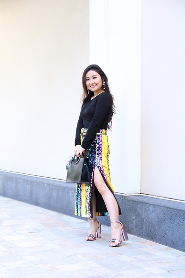 Kristen Tanabe - Shein Black Bodysuit, Shein Striped Sequin Skirt, Rose Wholesale Patent Leather Lavender Sandals, Topshop Black Purse - Stripes and Sequins