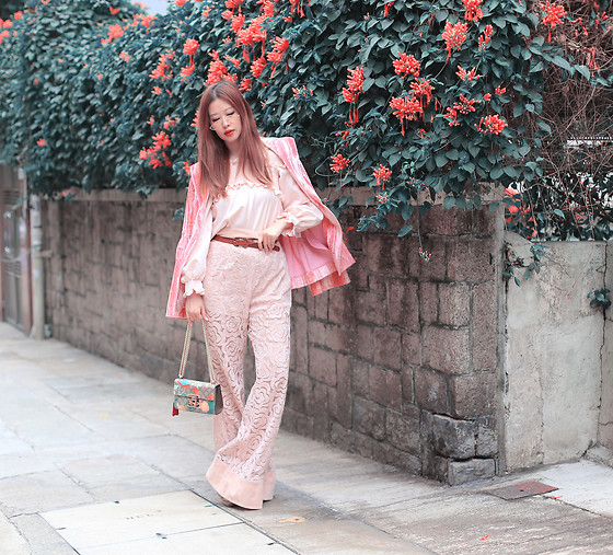 Mayo Wo - Gentle Monster Sunnies, Rejina Pyo Crushed Velvet Blazer, Alice Mccall Rose Pants - Blossom awesom