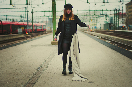 Sofia Holmberg - Boots, Vero Moda Leather Dress, Vero Moda Coat - No reason to stay is a good reason to go