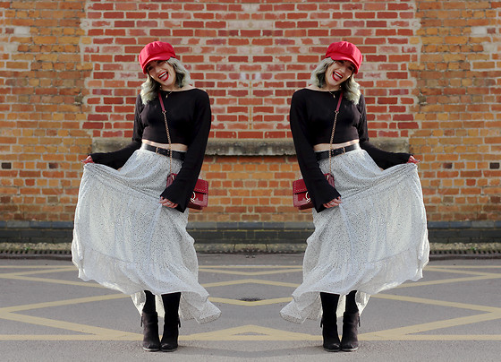Alex MacEachern - Lotd Red Baker Boy Hat, Everything5pounds Black Crop Top Flare Sleeve, Primark Black And Gold Belt, Misspap Red Hoop Box Bag, H&M White And Black Speckle Maxi Skirt, New Look Black Heeled Boots - At Least I'm Free