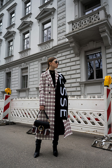 Swantje Sömmer | OffwhiteSwan - J.W. Anderson Bag, All Items On The Blog - Checked Coat & J.W. Anderson Bag