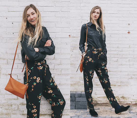 Eva Velt - Def Shop Bag, Mango Fake Leather Blouse, Mango Pants - More floral in winter