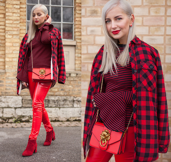 Julia Loewenherz - Zara Lumberjacket, Zara Striped Volant Sweater, Maare Red Vinyl Pants, Red Ankle Boots - ♥♡Happy Valentine's Day! ❦♡